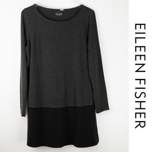 Eileen Fisher Large Black Grey Layered Tunic